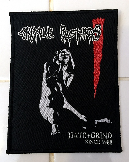 "CRIPPLE BASTARDS ""Hate+Grind since 1988"" (embroidered patch)"